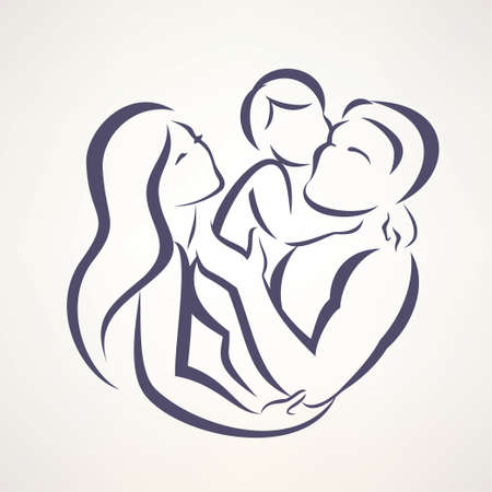 happy family: happy family stylized vector symbol, young parents and child Illustration