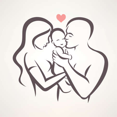 happy family stylized vector symbol, young parents and baby Çizim