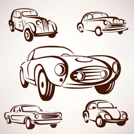 fro: retro cars vector collection deign elements fro labels and emblems Illustration