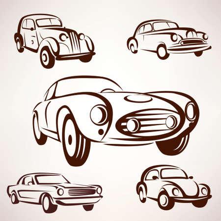 voitures rétro vector collection daigna éléments fro étiquettes et emblèmes