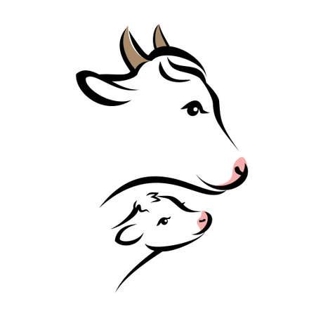 幸せな牛の肖像画、単純な黒線で孤立したシルエット
