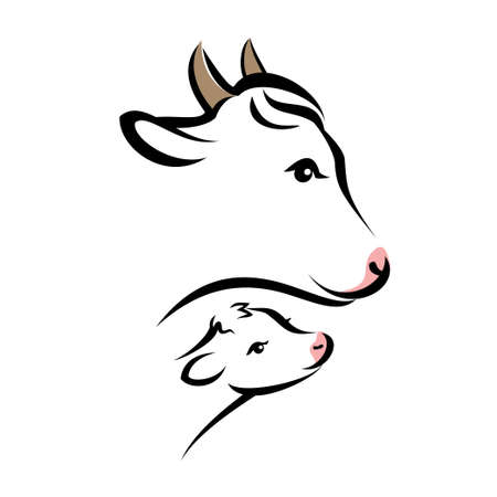 happy cow portrait, isolated silhouette in simple black lines Ilustrace