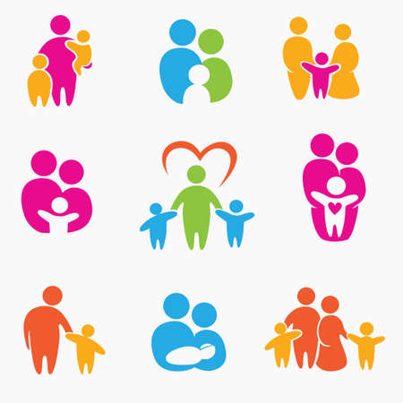 happy family icons, symbols collection 向量圖像
