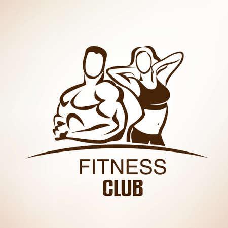 Fitness-Symbol, skizzierte Skizze, Emblem oder Etikettenvorlage