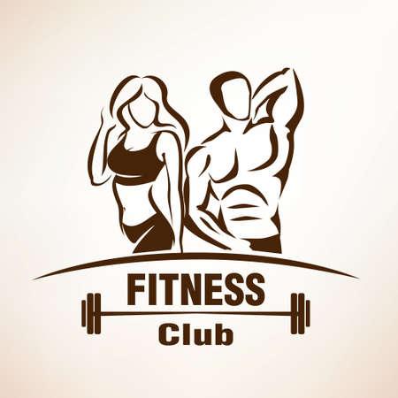 fitness hombres: símbolo de fitness, boceto esbozado, emblema o plantilla de etiqueta Vectores