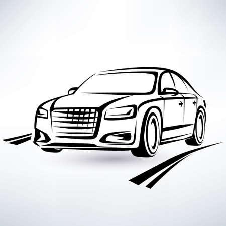 moderno símbolo de coches de lujo, boceto esbozado