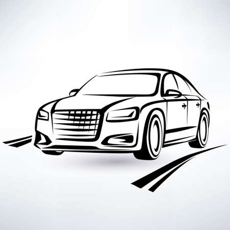 modern luxury car symbol, outlined sketch