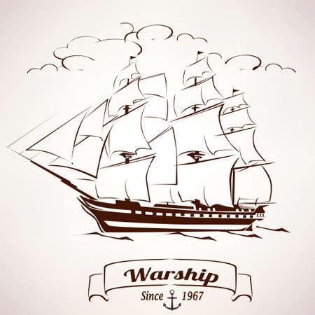 sailer: sailer, vintage wooden ship sketch