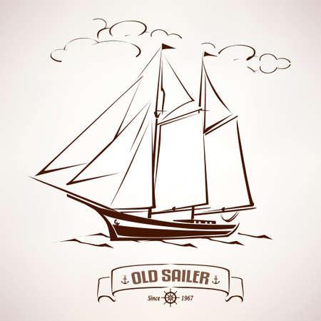Sailor, vintage wooden ship sketch