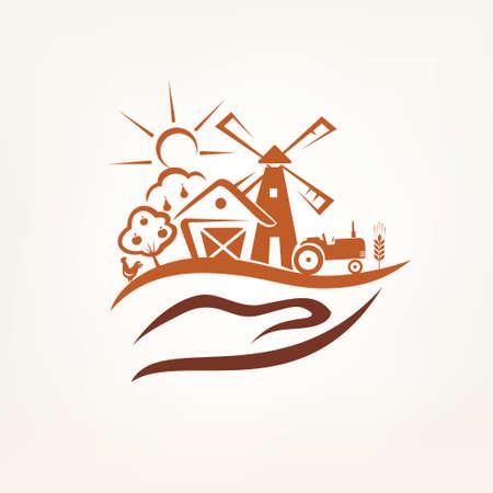 albero da frutto: l'agricoltura e la fattoria simbolo stilizzato Vettoriali