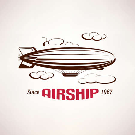 retro airship emblem template 向量圖像