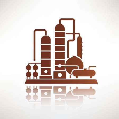 destilacion: petroquímica planta símbolo, la destilación de la refinería de petróleo icono