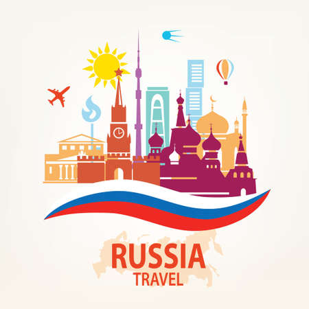 federation: Russia travel background, set of famous russian and Moskow symbols