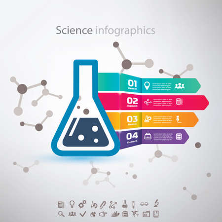biotech: science infographic, chemistry biotechnology concept, set of icons