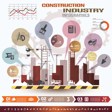 construction safety: building and construction infographics, vector icons set, design elements Illustration