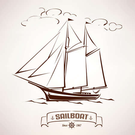 old ship: sailboat, vintage wooden ship vector sketch