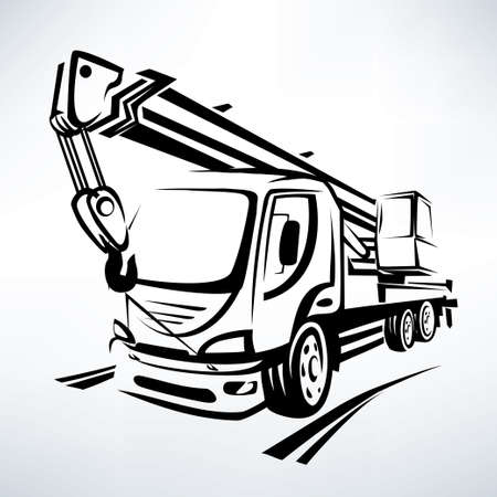 camion grua: grúa móvil símbolo aislado del vector, estilizada esbozo
