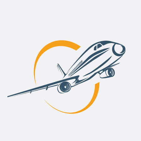 airplane symbol, aircraft stylized icon Illustration