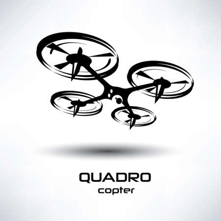 drone icon, quadrocopter stylized symbol Çizim