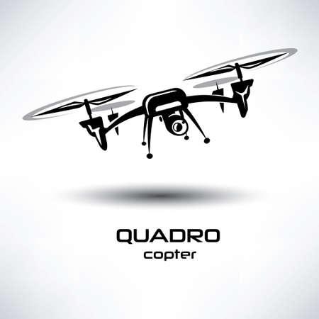 icono de aviones no tripulados, símbolo estilizado quadrocopter