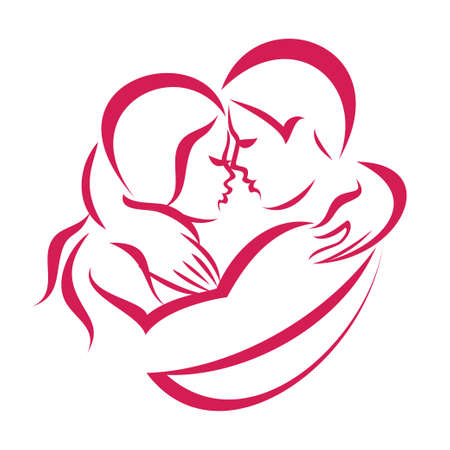 romantic love couple icon, stylized symbol of man and woman Çizim