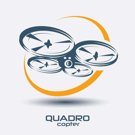 drone icon, quadrocopter stylized  symbol
