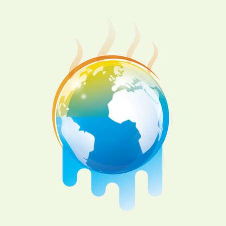 지구 온난화 양식에 일치시키는 벡터 기호