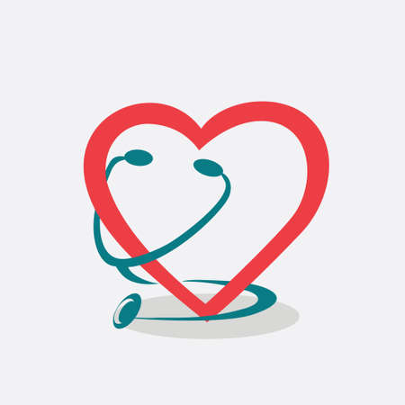 stethescope: heart and stethoscope symbol, stylized vector icon of cardiology and healthcare