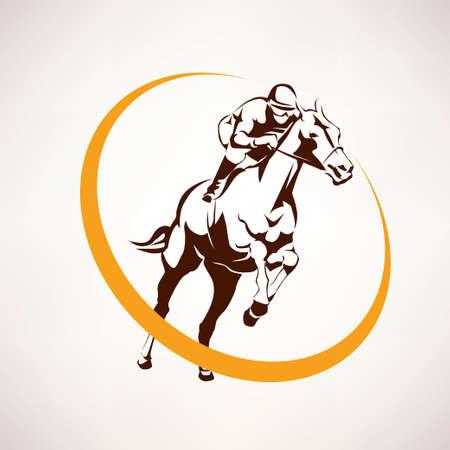 thoroughbred: horse race stylized symbol, jockey riding a horse elmblem Illustration