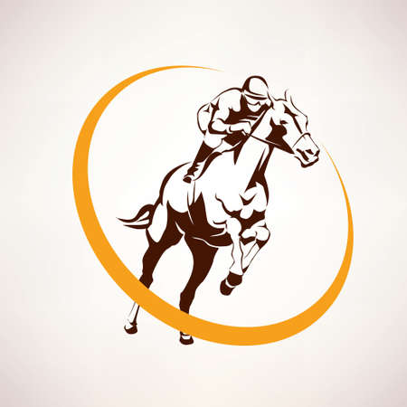 Horse Race Stylized Symbol Jockey Riding A Elmblem Illustration