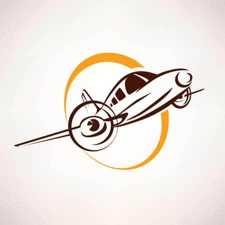 artictic: airplane symbol, light aircraft stylized icon Illustration
