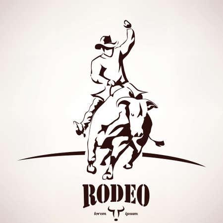 bull rodeo symbol, stylized silhouette
