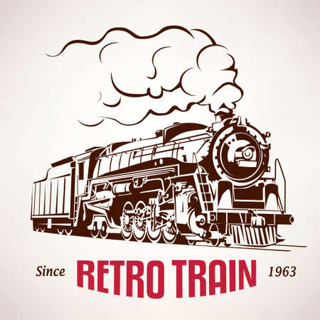 retro train, vintage  symbol, emblem, label template Çizim
