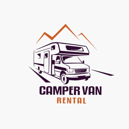 camping: camper van outlined sketch, emblem and label tmplate