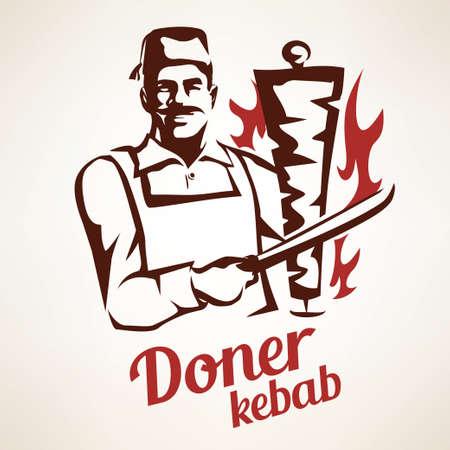 cuoco asiatico che prepara doner kebab illustrazione, simbolo delineato in stile vintage, emblemi e etichette modello