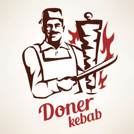 jefe de cocina asiática que prepara la ilustración Doner Kebab, símbolo indica en el estilo vintage, emblemas y etiquetas de plantilla