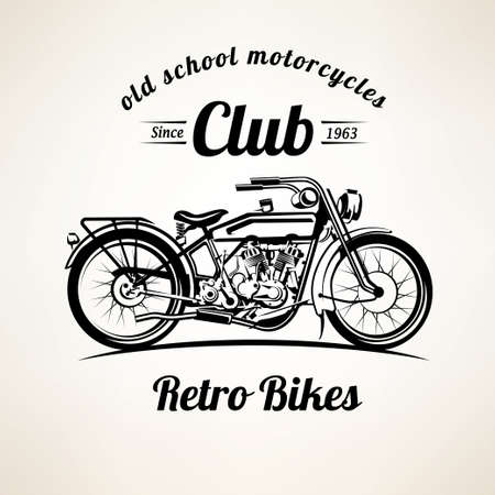 retro motorbike emblems and labels template, vintage motorcycle silhouette