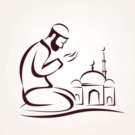 muslim prayer outlined vector sketch, religious symbol Illustration