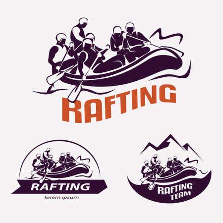 conjunto de plantillas de Rafting en etiquetas, emblemas, insignias, deportes acuáticos