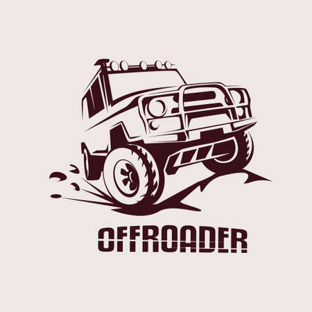 off road: offroad suv car monochrome template for labels, emblems, badges