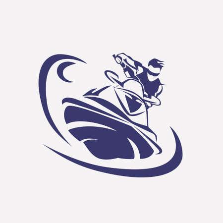 moto acuatica: jet ski símbolo vector estilizada, jinete en silueta de las motos de agua, plantilla emblema