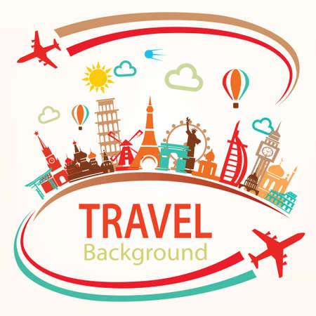 world travel, landmarks silhouettes icons set Çizim
