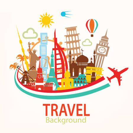 voyage: Voyage dans le monde, landmarks silhouettes icônes ensemble Illustration