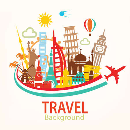 world travel, landmarks silhouettes icons set 矢量图像