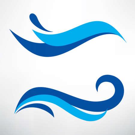 水の波は様式化されたベクトルのシンボル、テンプレートのデザイン要素の設定  イラスト・ベクター素材