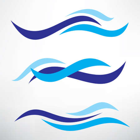 water wave set of stylized vector symbols, design elements for template Vettoriali
