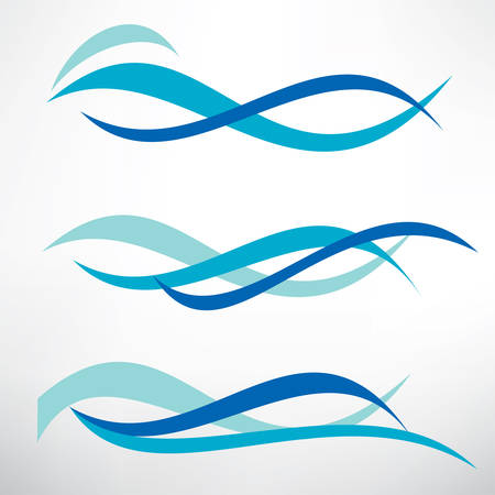 water wave set of stylized vector symbols, design elements for template