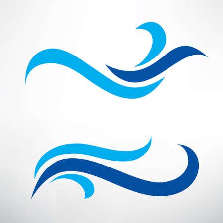 water wave set of stylized vector symbols, design elements for template Illustration