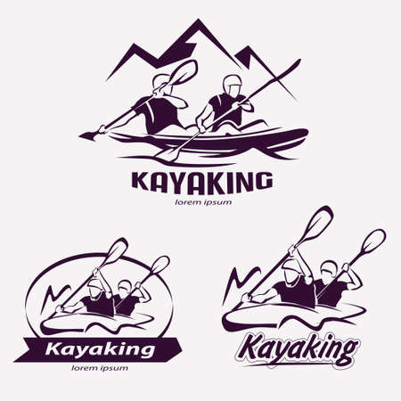 kayaking: set of kayaking templates for labels, emblems, badges, water sports Illustration
