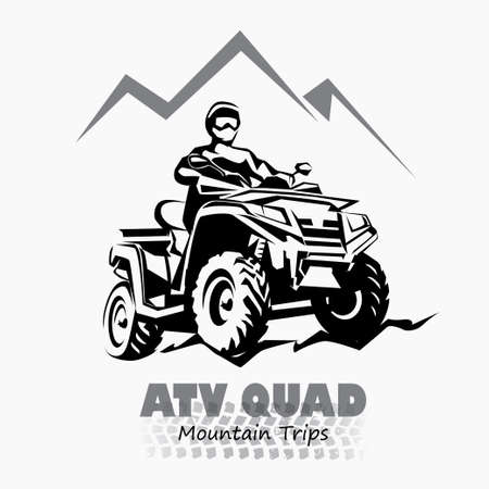 atv, quad bike stylized silhouette vector symbol, design element for emblem